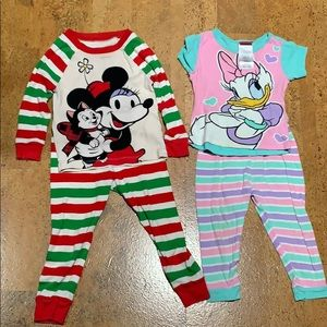 Disney Toddler Girls Pajamas Lot Size 2T